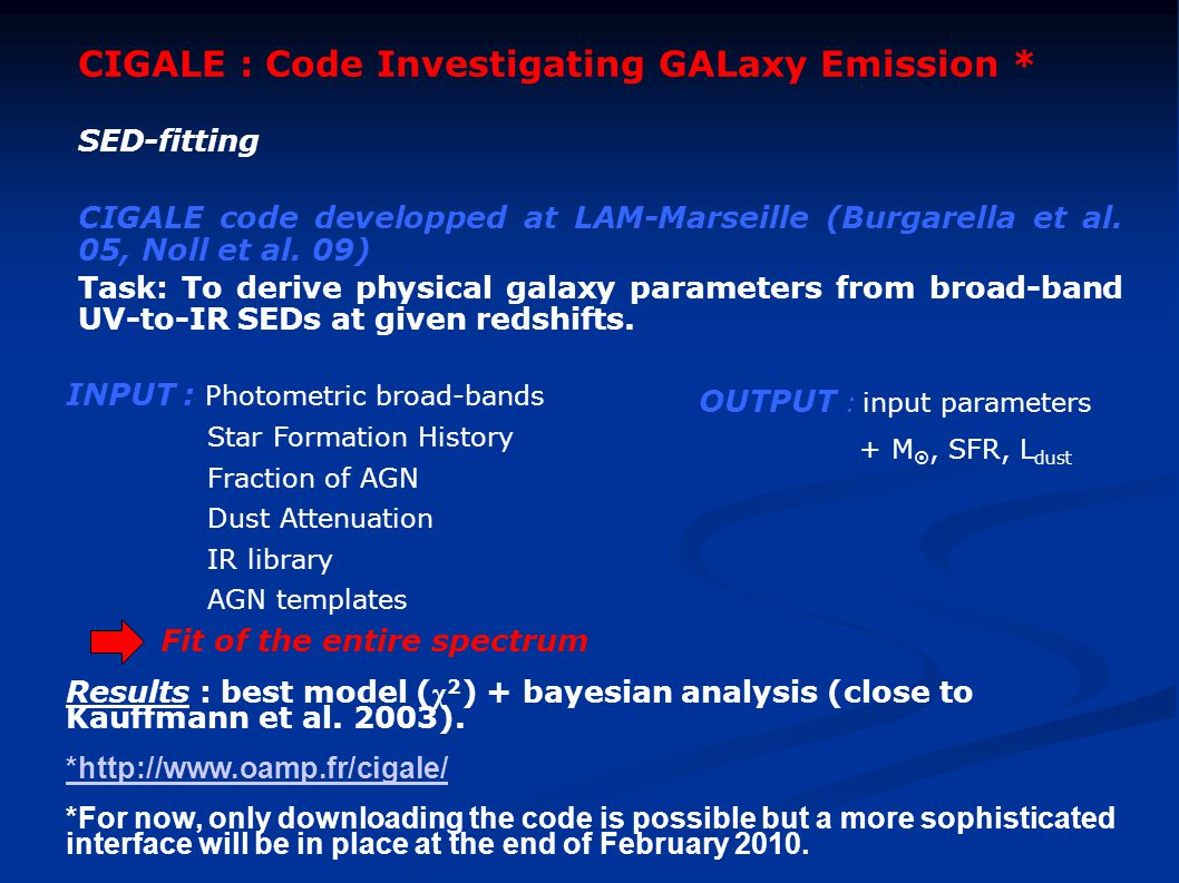 CIGALE : Code Investigating GALaxy Emission * SED-fitting CIGALE code developped at LAM-Marseille (Burgarella et al.