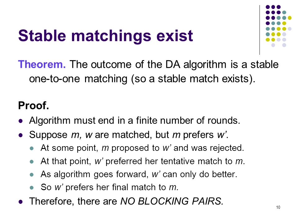 Stable matchings exist Theorem.