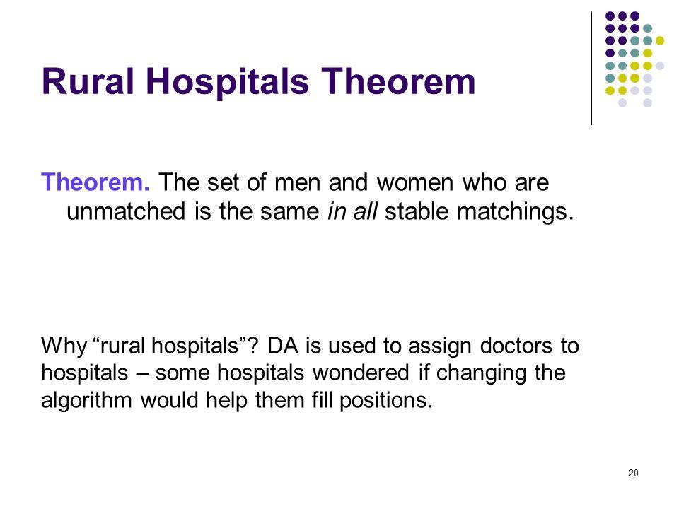 Rural Hospitals Theorem Theorem.