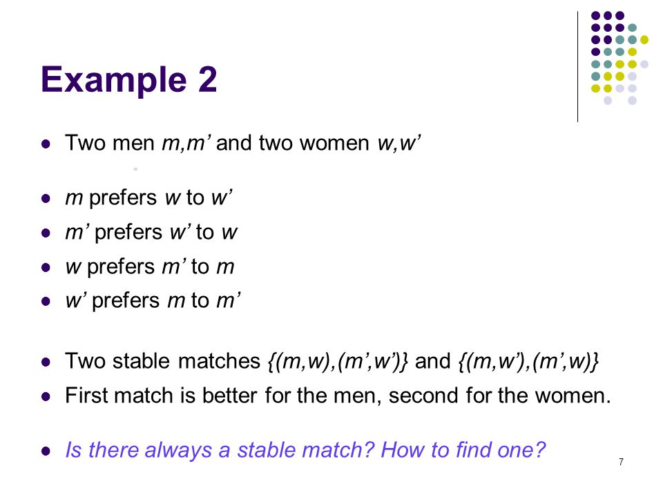 Example 2 Two men m,m' and two women w,w'  m prefers w to w' m' prefers w' to w w prefers m' to m w' prefers m to m' Two stable matches {(m,w),(m',w')} and {(m,w'),(m',w)} First match is better for the men, second for the women.