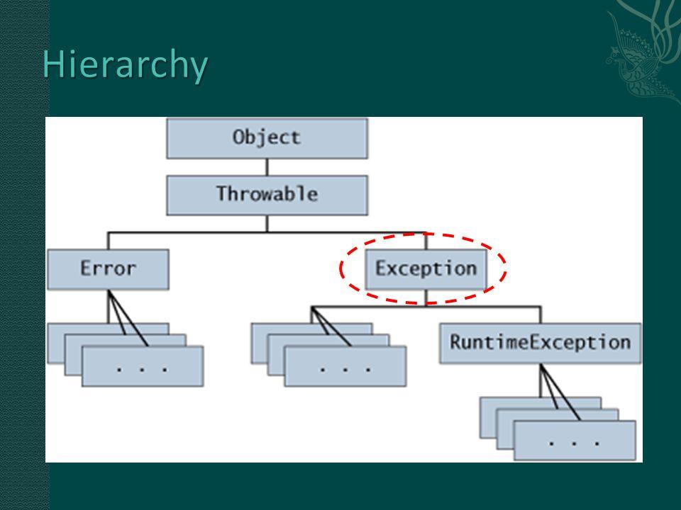  When a dynamic linking failure or other hard failure in the Java virtual machine occurs, the virtual machine throws an Error.