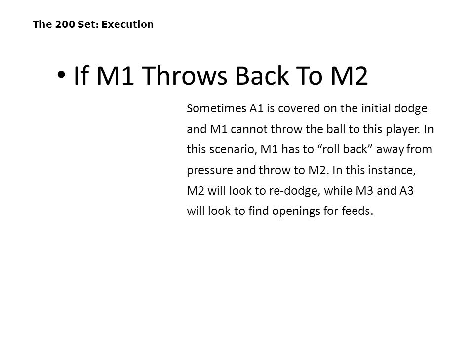 """The 200 Set: Execution Sometimes A1 is covered on the initial dodge and M1 cannot throw the ball to this player. In this scenario, M1 has to """"roll bac"""