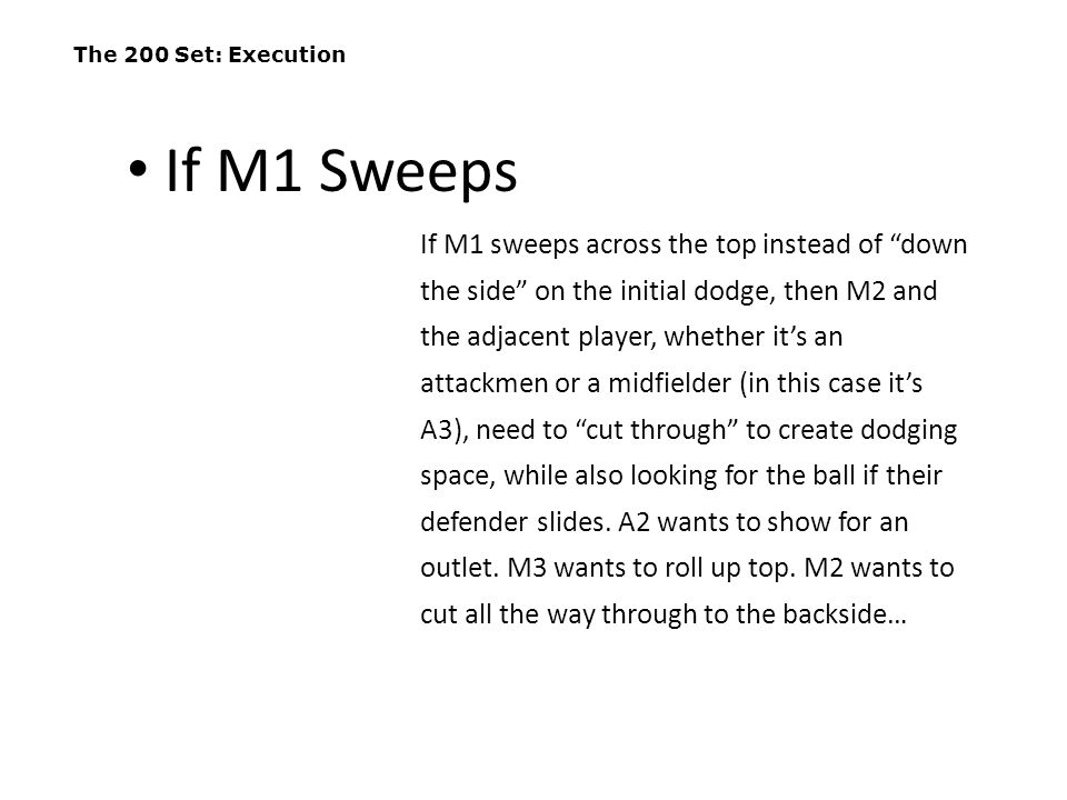 """The 200 Set: Execution If M1 sweeps across the top instead of """"down the side"""" on the initial dodge, then M2 and the adjacent player, whether it's an a"""
