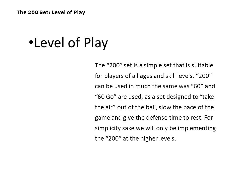 The 200 Set: Set Up This offense utilizes a wide, creaseless 2-2-2 formation (or a 2 circle) which consists of two players up-top in front of the goal, two wide players even with the crease, and two players behind the goal.