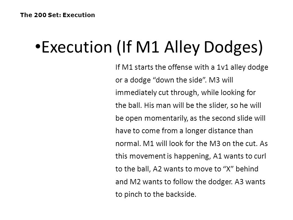 """The 200 Set: Execution If M1 starts the offense with a 1v1 alley dodge or a dodge """"down the side"""". M3 will immediately cut through, while looking for"""