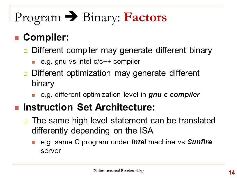 Program  Binary: Factors Compiler:  Different compiler may generate different binary e.g.