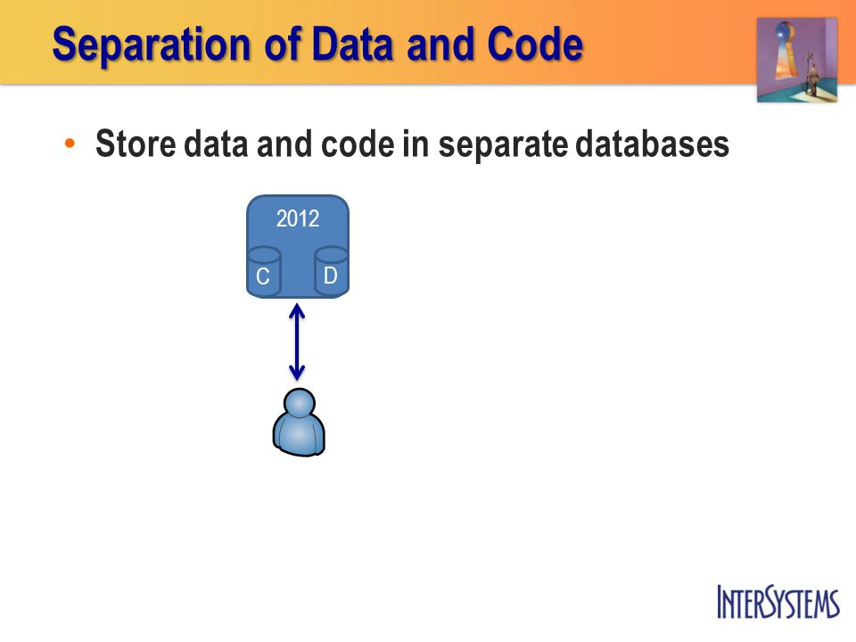 Store data and code in separate databases Separation of Data and Code 2012 D C
