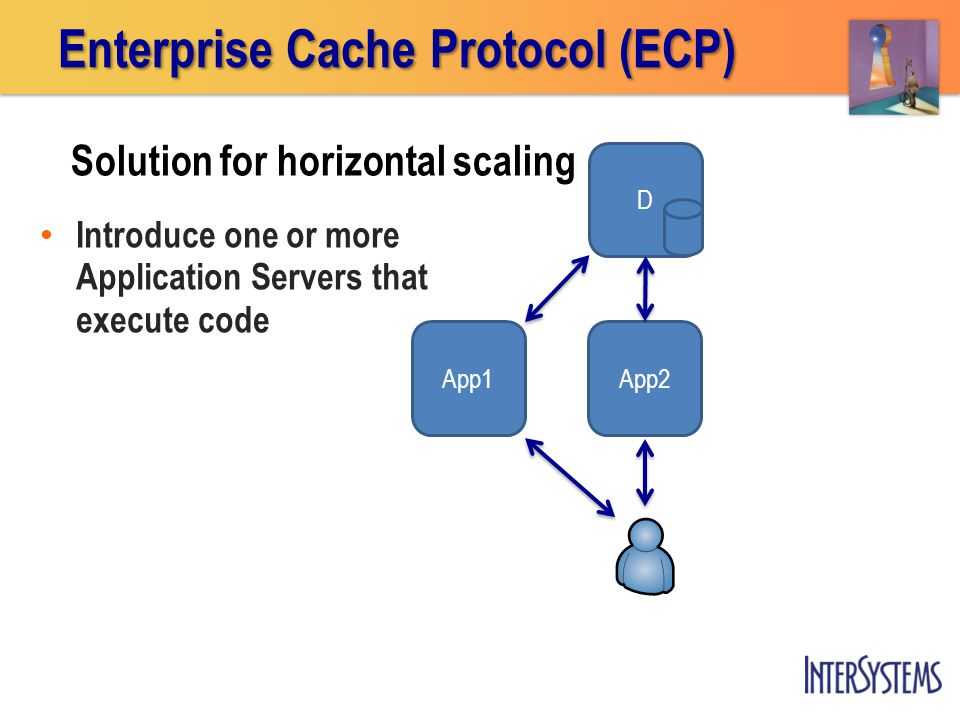 Introduce one or more Application Servers that execute code D App1 Enterprise Cache Protocol (ECP) App2 Solution for horizontal scaling