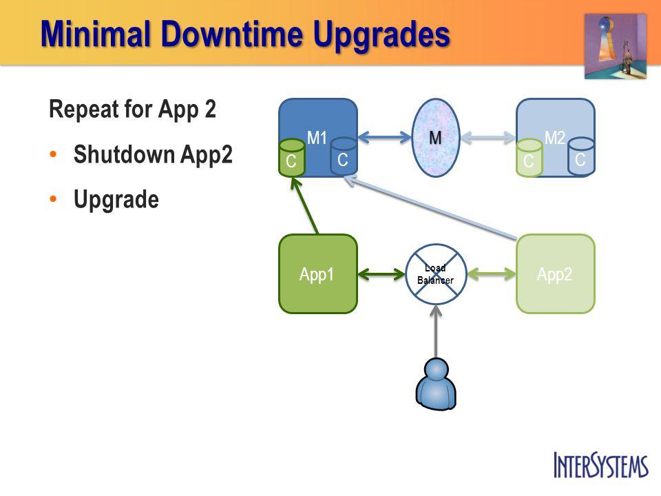 App2App1 M1 C M2 C Repeat for App 2 Shutdown App2 Upgrade Minimal Downtime Upgrades M Load Balancer CC