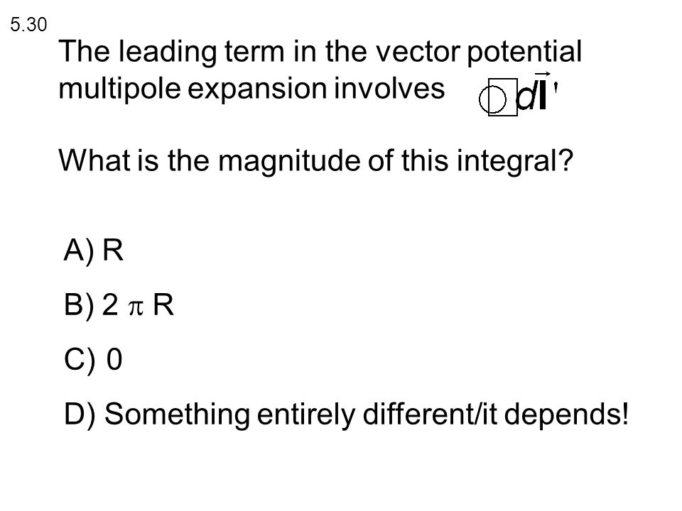 The leading term in the vector potential multipole expansion involves What is the magnitude of this integral.