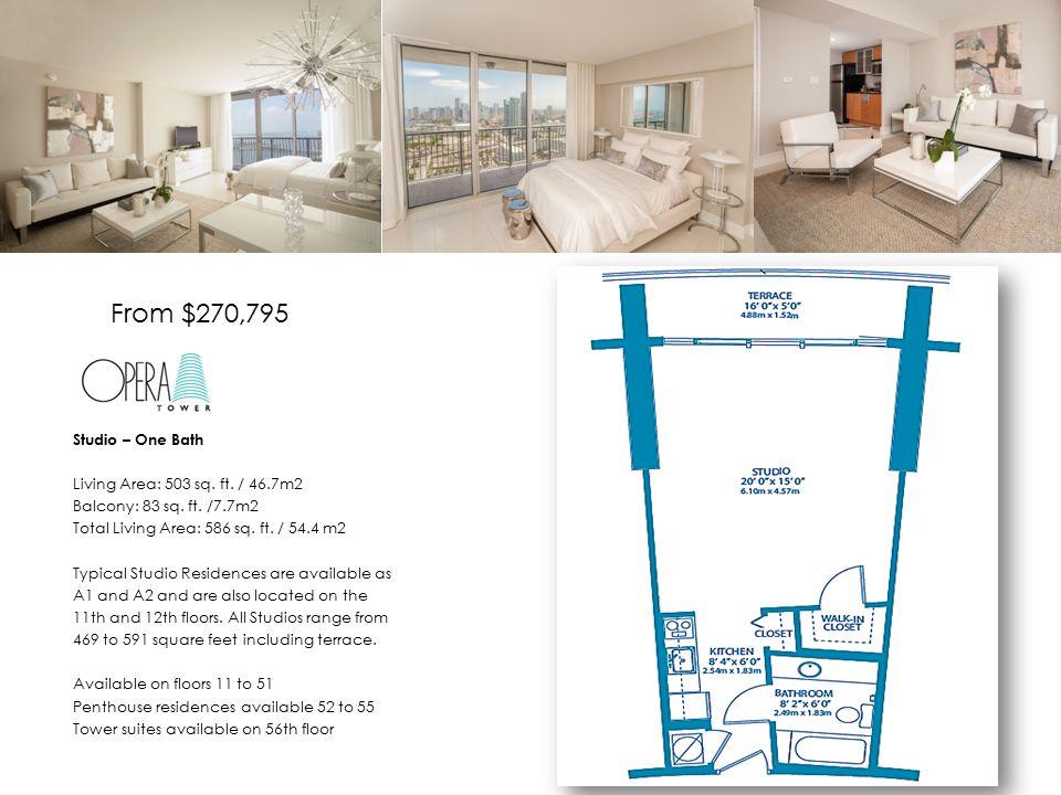 Studio – One Bath Living Area: 503 sq. ft. / 46.7m2 Balcony: 83 sq.