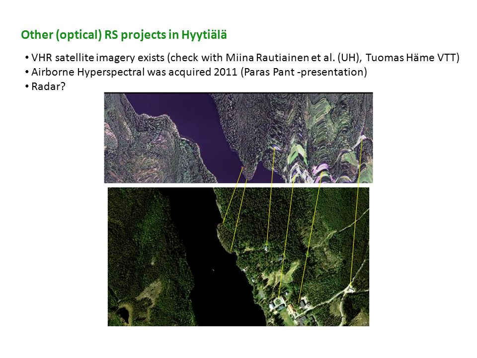 Other (optical) RS projects in Hyytiälä VHR satellite imagery exists (check with Miina Rautiainen et al.