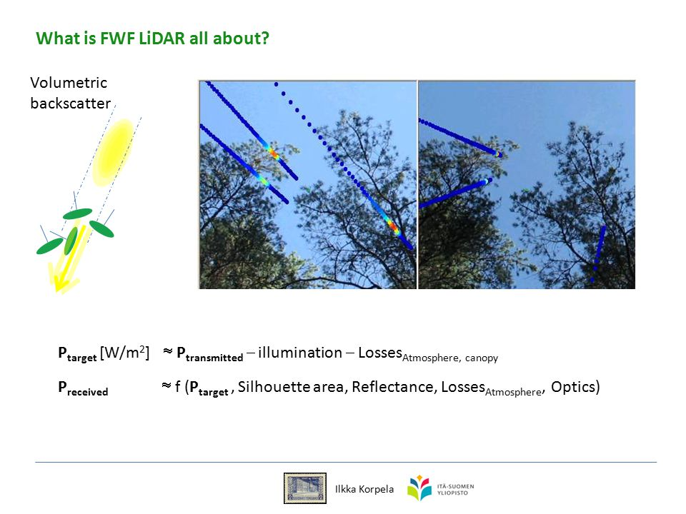 Ilkka Korpela P target [W/m 2 ]  P transmitted  illumination  Losses Atmosphere, canopy P received  f (P target, Silhouette area, Reflectance, Losses Atmosphere, Optics) Volumetric backscatter What is FWF LiDAR all about?