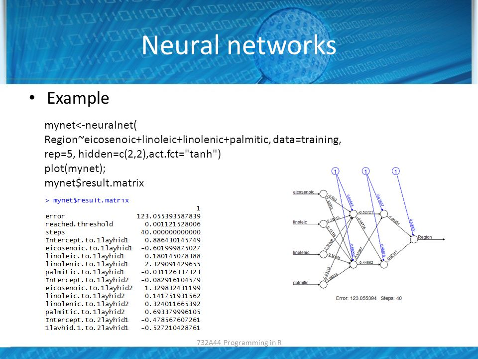 Neural networks Example mynet<-neuralnet( Region~eicosenoic+linoleic+linolenic+palmitic, data=training, rep=5, hidden=c(2,2),act.fct= tanh ) plot(mynet); mynet$result.matrix 732A44 Programming in R