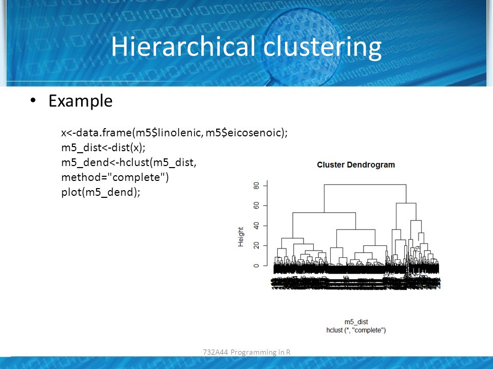 Hierarchical clustering Example x<-data.frame(m5$linolenic, m5$eicosenoic); m5_dist<-dist(x); m5_dend<-hclust(m5_dist, method= complete ) plot(m5_dend); 732A44 Programming in R