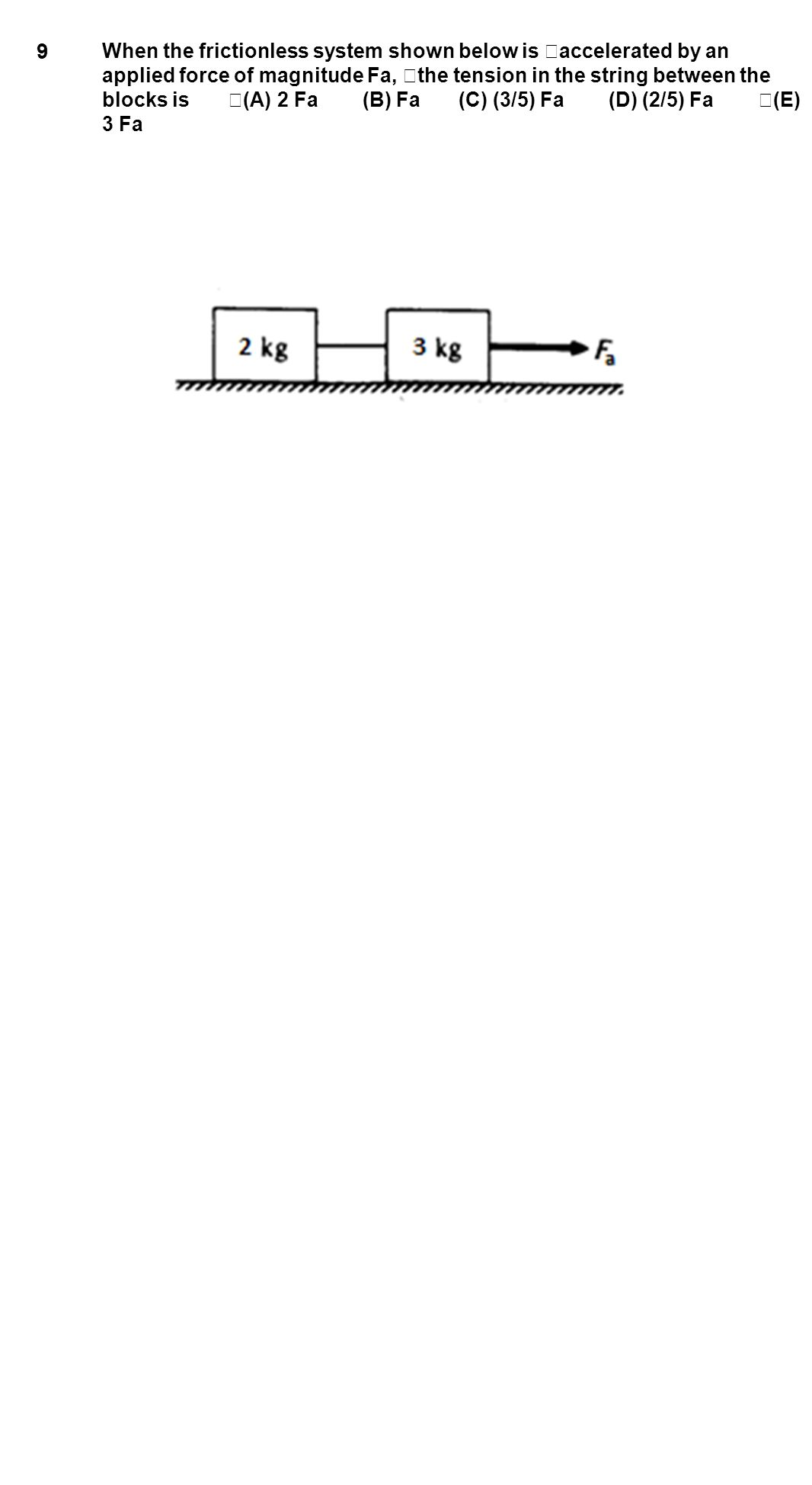 9 When the frictionless system shown below is accelerated by an applied force of magnitude Fa, the tension in the string between the blocks is (A) 2 F