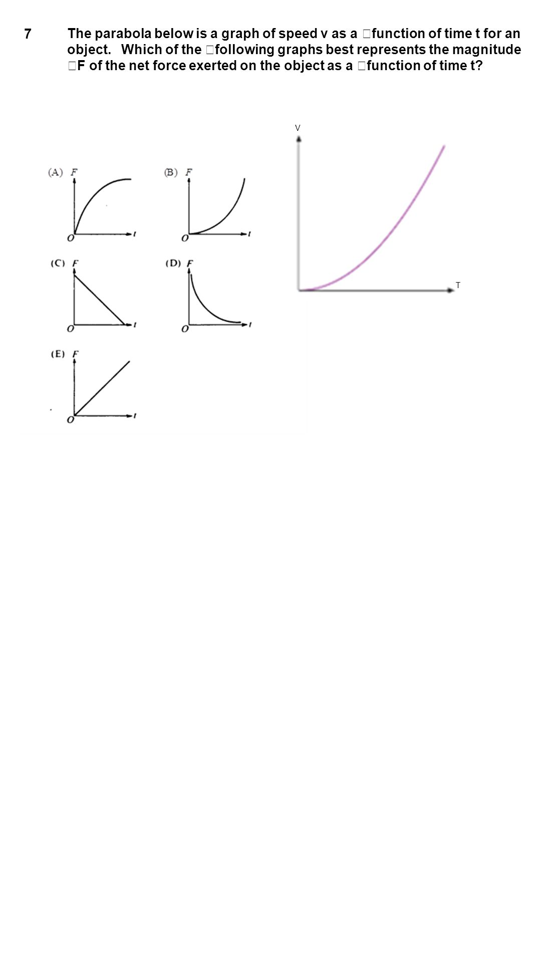7 The parabola below is a graph of speed v as a function of time t for an object. Which of the following graphs best represents the magnitude F of the