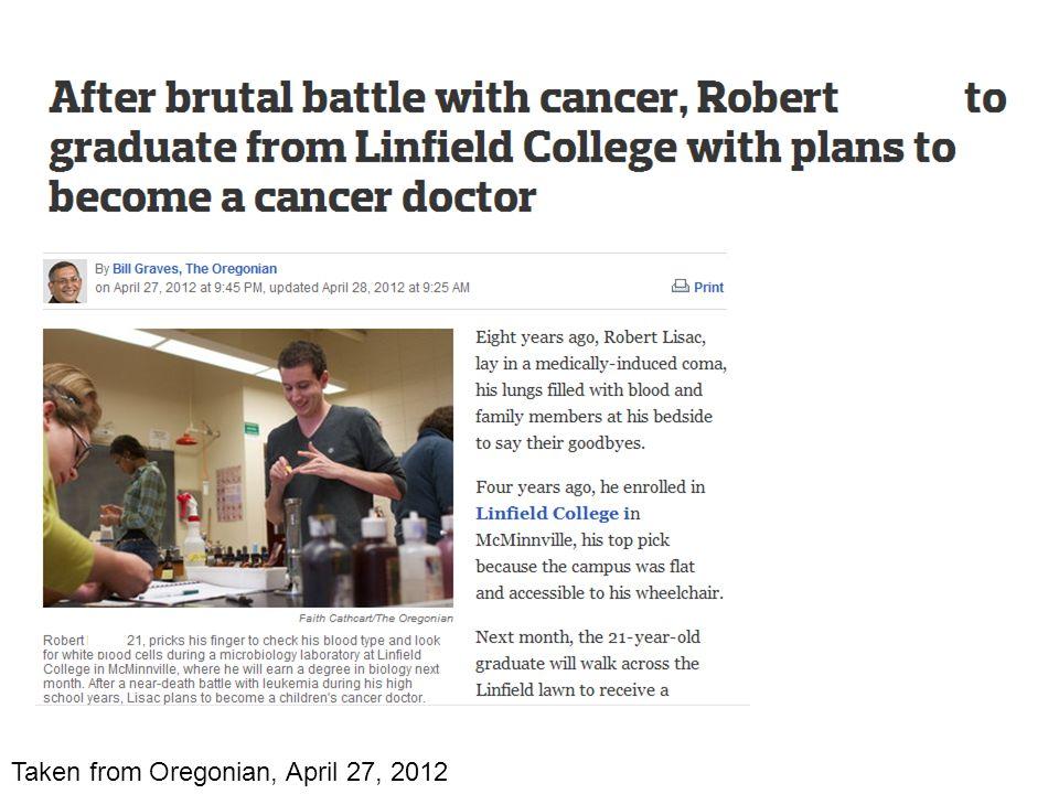 Taken from Oregonian, April 27, 2012