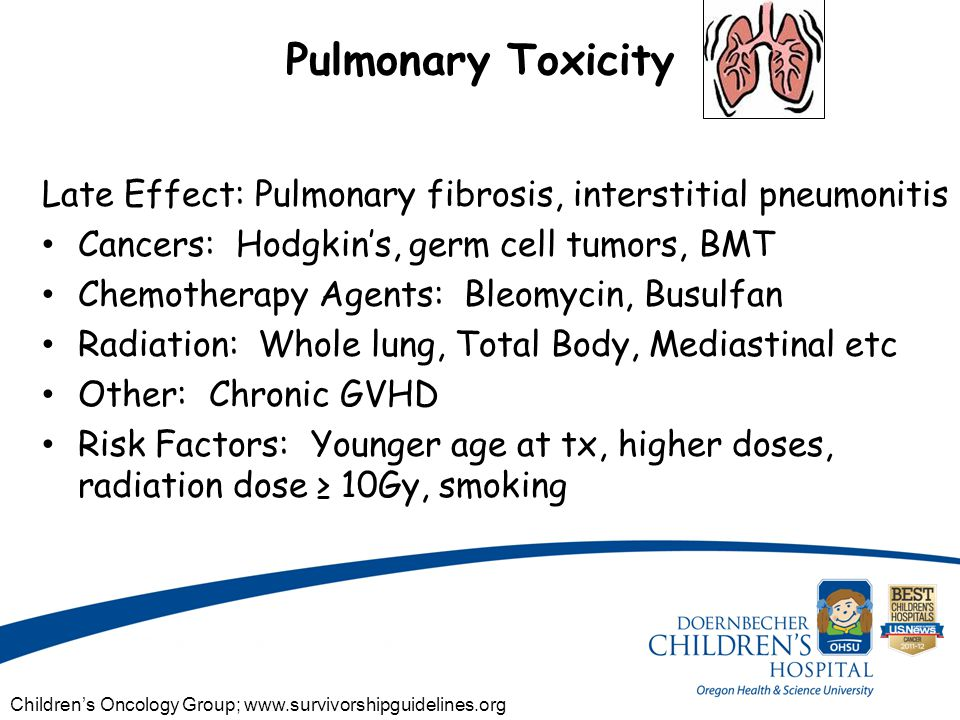 Pulmonary Toxicity Late Effect: Pulmonary fibrosis, interstitial pneumonitis Cancers: Hodgkin's, germ cell tumors, BMT Chemotherapy Agents: Bleomycin, Busulfan Radiation: Whole lung, Total Body, Mediastinal etc Other: Chronic GVHD Risk Factors: Younger age at tx, higher doses, radiation dose ≥ 10Gy, smoking Children's Oncology Group; www.survivorshipguidelines.org