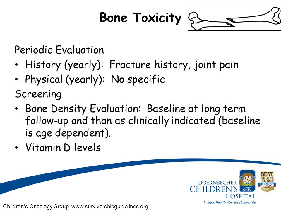 Bone Toxicity Periodic Evaluation History (yearly): Fracture history, joint pain Physical (yearly): No specific Screening Bone Density Evaluation: Baseline at long term follow-up and than as clinically indicated (baseline is age dependent).