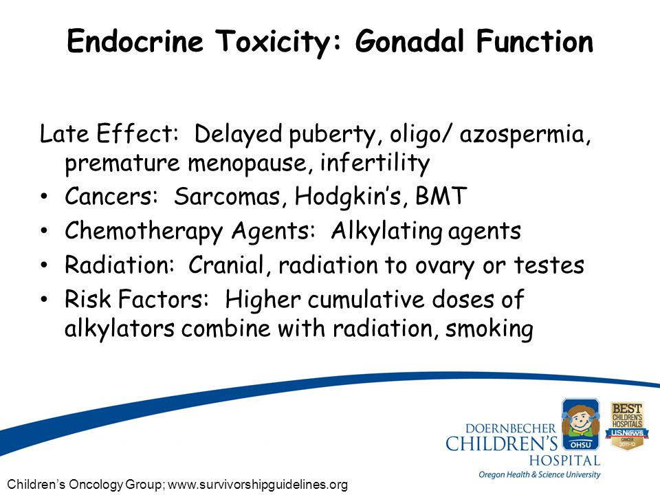 Endocrine Toxicity: Gonadal Function Late Effect: Delayed puberty, oligo/ azospermia, premature menopause, infertility Cancers: Sarcomas, Hodgkin's, BMT Chemotherapy Agents: Alkylating agents Radiation: Cranial, radiation to ovary or testes Risk Factors: Higher cumulative doses of alkylators combine with radiation, smoking Children's Oncology Group; www.survivorshipguidelines.org