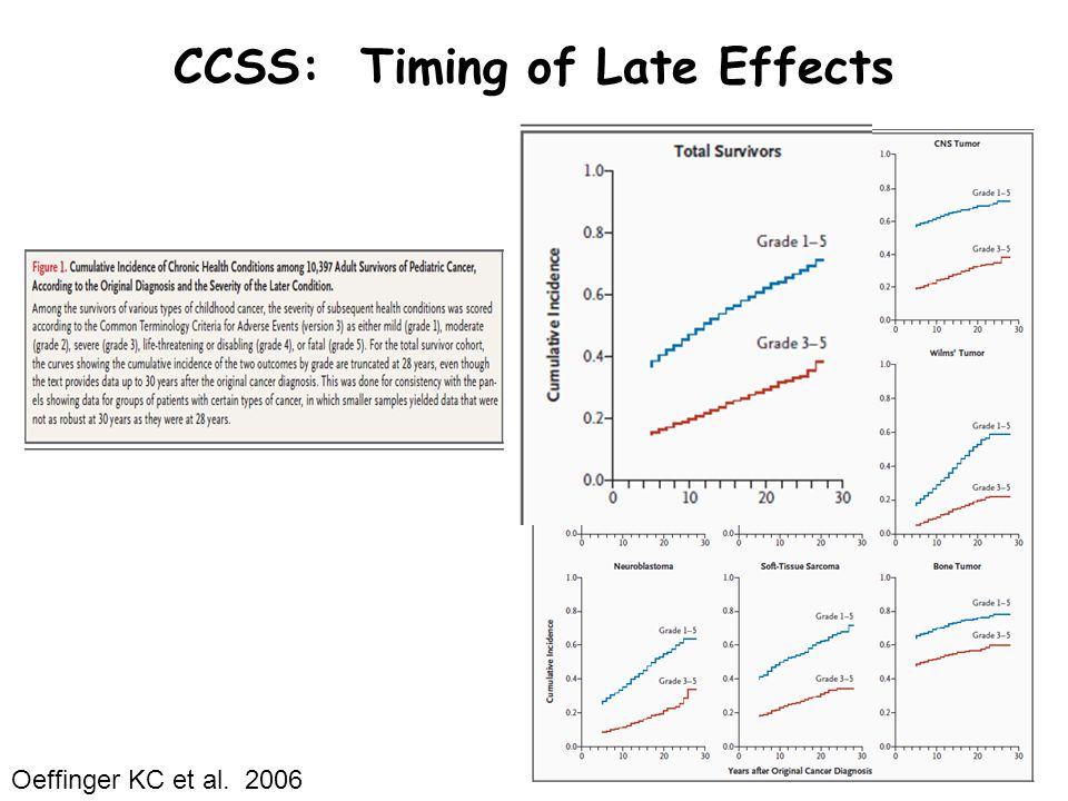 CCSS: Timing of Late Effects Oeffinger KC et al. 2006