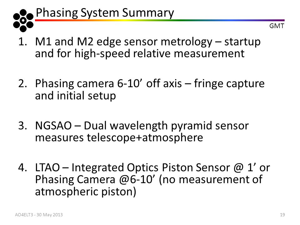 GMT 1.M1 and M2 edge sensor metrology – startup and for high-speed relative measurement 2.Phasing camera 6-10' off axis – fringe capture and initial s