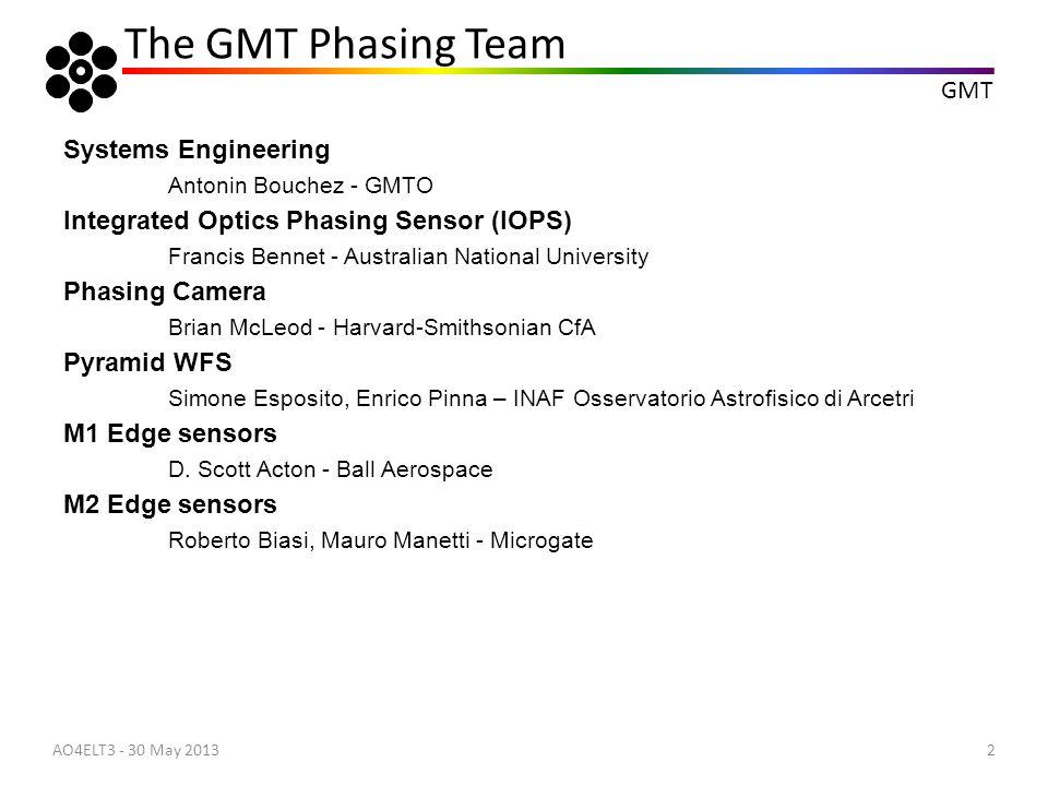 GMT 13 Optical Sensors: Phasing camera: Data analysis AO4ELT3 - 30 May 2013