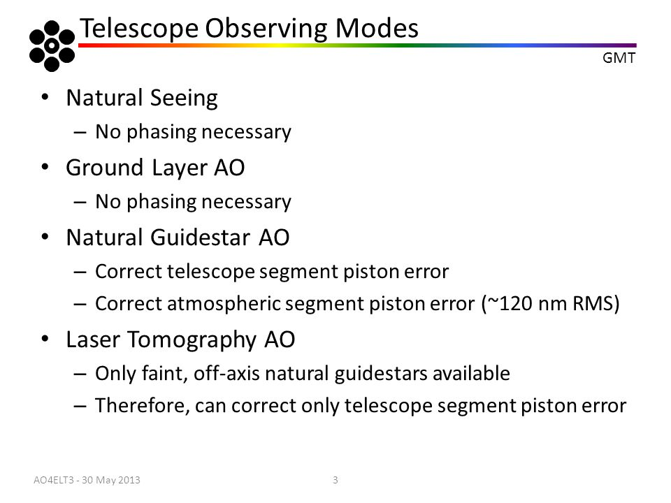 GMT Telescope Observing Modes Natural Seeing – No phasing necessary Ground Layer AO – No phasing necessary Natural Guidestar AO – Correct telescope se