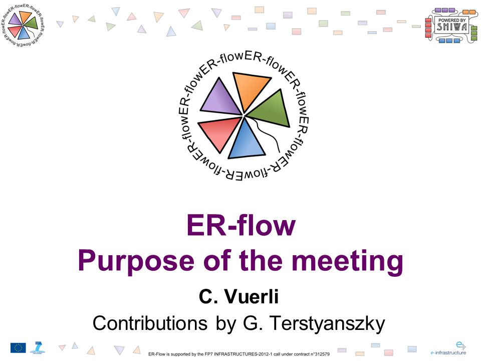 ER-flow Purpose of the meeting C. Vuerli Contributions by G. Terstyanszky