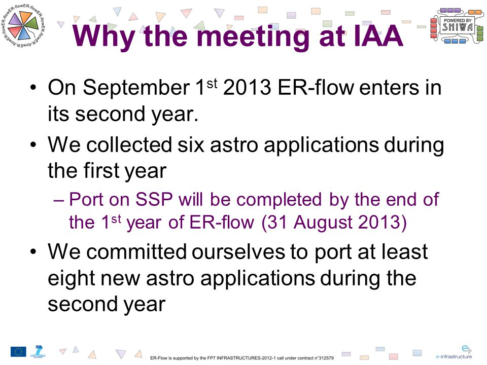 Why the meeting at IAA On September 1 st 2013 ER-flow enters in its second year.