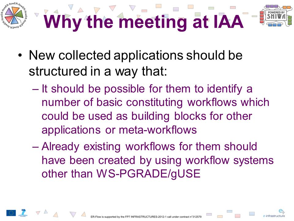 Why the meeting at IAA New collected applications should be structured in a way that: –It should be possible for them to identify a number of basic co