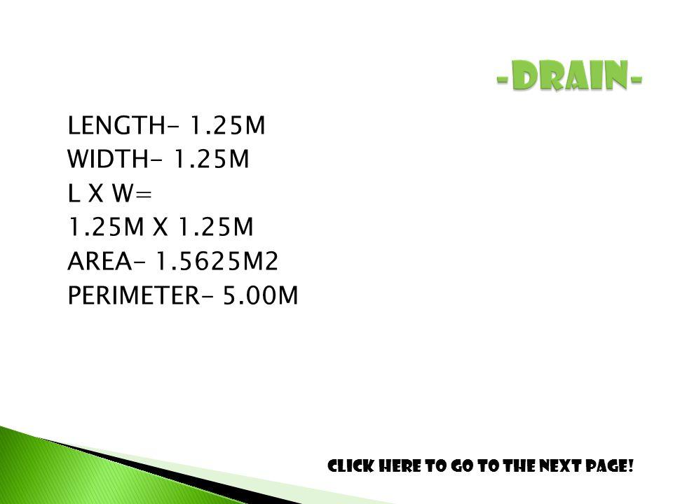 LENGTH- 1.25M WIDTH- 1.25M L X W= 1.25M X 1.25M AREA- 1.5625M2 PERIMETER- 5.00M