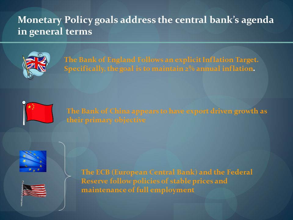 Monetary Policy goals address the central bank's agenda in general terms The Bank of England Follows an explicit Inflation Target. Specifically, the g