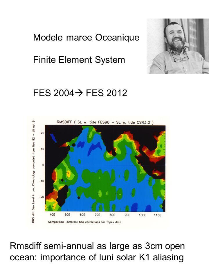 Modele maree Oceanique Finite Element System FES 2004  FES 2012 Rmsdiff semi-annual as large as 3cm open ocean: importance of luni solar K1 aliasing