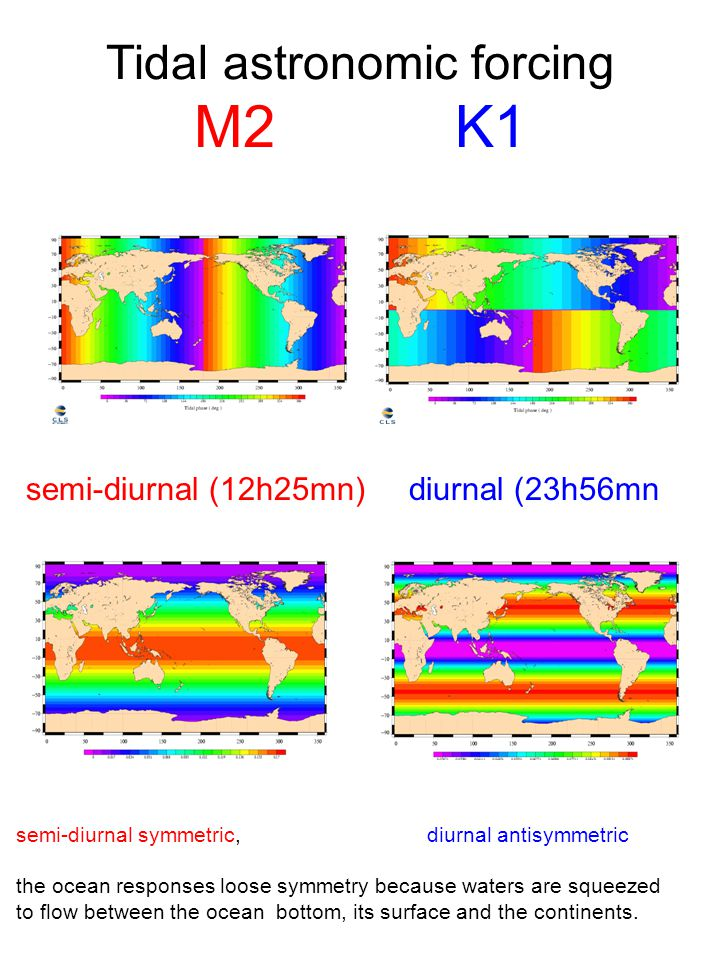 Tidal astronomic forcing M2 K1 semi-diurnal symmetric, diurnal antisymmetric the ocean responses loose symmetry because waters are squeezed to flow be