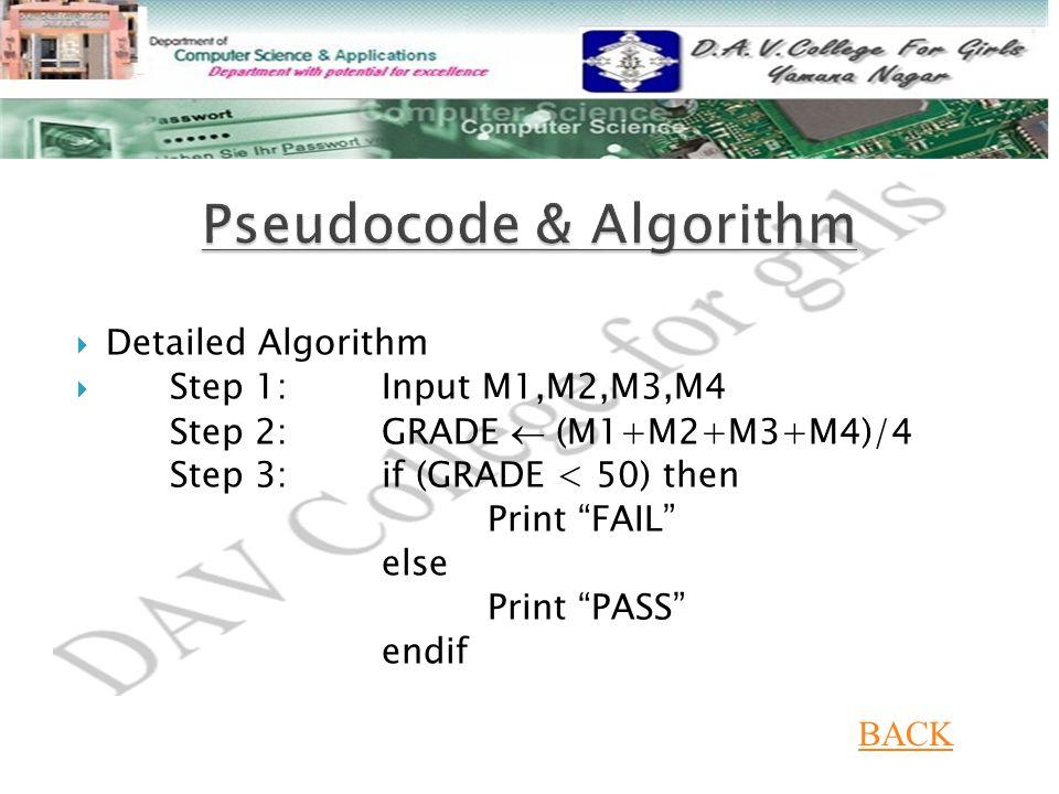 """ Detailed Algorithm  Step 1: Input M1,M2,M3,M4 Step 2: GRADE  (M1+M2+M3+M4)/4 Step 3: if (GRADE < 50) then Print """"FAIL"""" else Print """"PASS"""" endif BAC"""