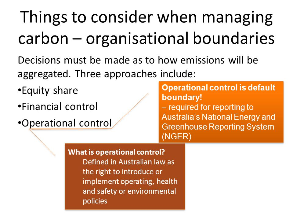 Things to consider when managing carbon – organisational boundaries Decisions must be made as to how emissions will be aggregated. Three approaches in