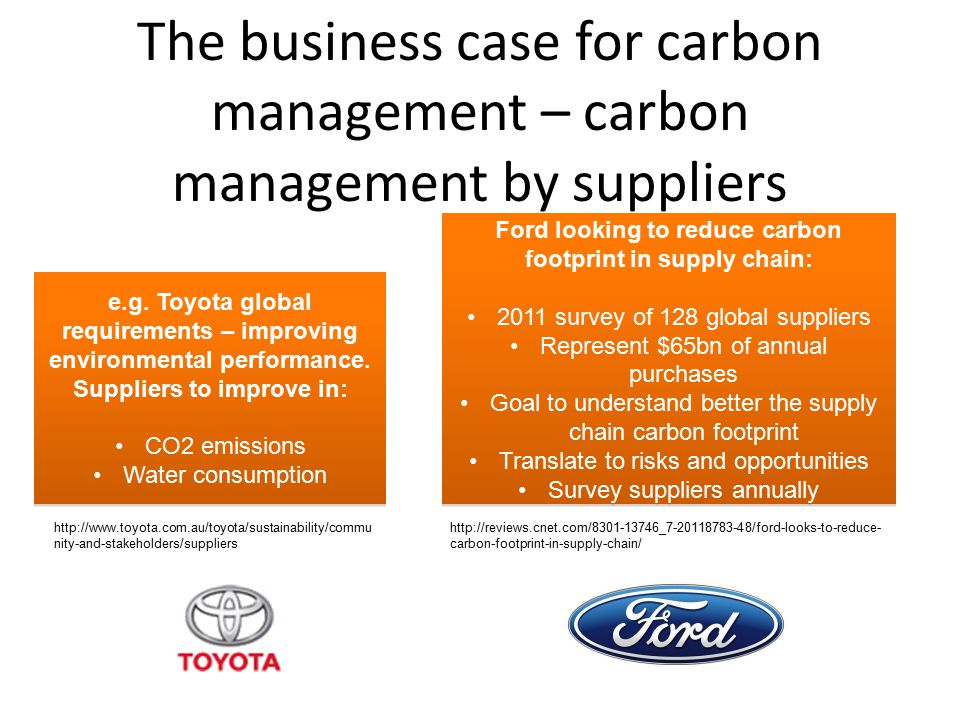 The business case for carbon management – carbon management by suppliers e.g. Toyota global requirements – improving environmental performance. Suppli