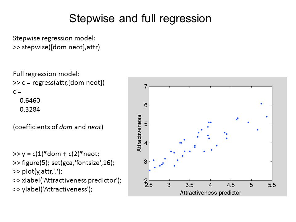 Stepwise and full regression Stepwise regression model: >> stepwise([dom neot],attr) Full regression model: >> c = regress(attr,[dom neot]) c = 0.6460 0.3284 (coefficients of dom and neot) >> y = c(1)*dom + c(2)*neot; >> figure(5); set(gca, fontsize ,16); >> plot(y,attr, . ); >> xlabel( Attractiveness predictor ); >> ylabel( Attractiveness );