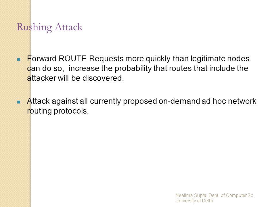 Neelima Gupta, Dept. of Computer Sc., University of Delhi Rushing Attack Forward ROUTE Requests more quickly than legitimate nodes can do so, increase