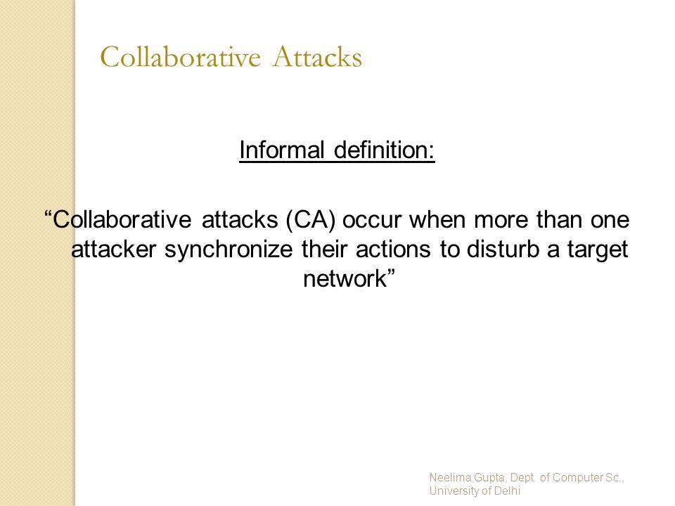 "Neelima Gupta, Dept. of Computer Sc., University of Delhi Collaborative Attacks Informal definition: ""Collaborative attacks (CA) occur when more than"