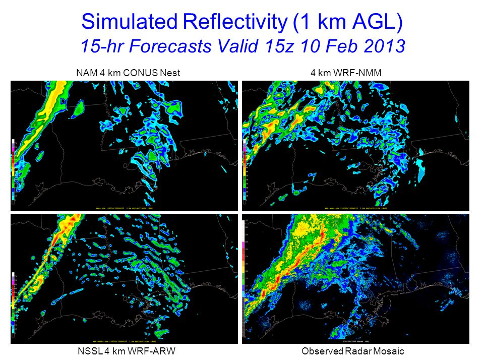 Simulated Reflectivity (1 km AGL) 15-hr Forecasts Valid 15z 10 Feb 2013 NAM 4 km CONUS Nest 4 km WRF-NMM NSSL 4 km WRF-ARW Observed Radar Mosaic