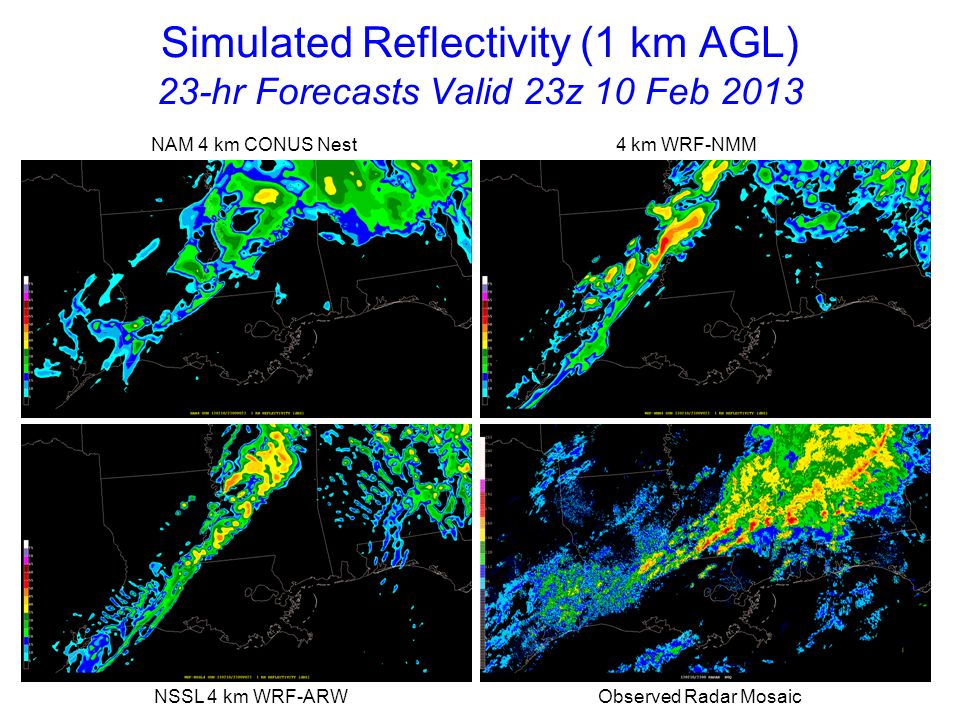 Simulated Reflectivity (1 km AGL) 23-hr Forecasts Valid 23z 10 Feb 2013 NAM 4 km CONUS Nest 4 km WRF-NMM NSSL 4 km WRF-ARW Observed Radar Mosaic
