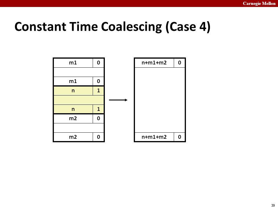 Carnegie Mellon 39 m10 Constant Time Coalescing (Case 4) m10 n1 n1 m20 0 n+m1+m20 0