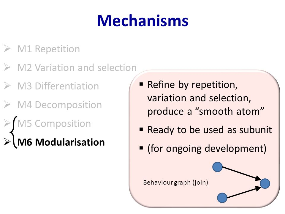 Mechanisms  M1 Repetition  M2 Variation and selection  M3 Differentiation  M4 Decomposition  M5 Composition  M6 Modularisation  Refine by repetition, variation and selection, produce a smooth atom  Ready to be used as subunit  (for ongoing development) Behaviour graph (join)