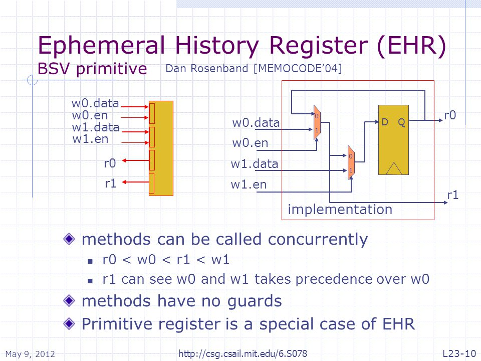 Ephemeral History Register (EHR) BSV primitive Dan Rosenband [MEMOCODE'04] 0 1 w0.data w0.en 0 1 w1.data w1.en r0 DQ r1 implementation r0 w0.data w0.en r1 w1.data w1.en methods can be called concurrently r0 < w0 < r1 < w1 r1 can see w0 and w1 takes precedence over w0 methods have no guards Primitive register is a special case of EHR May 9, 2012 http://csg.csail.mit.edu/6.S078L23-10