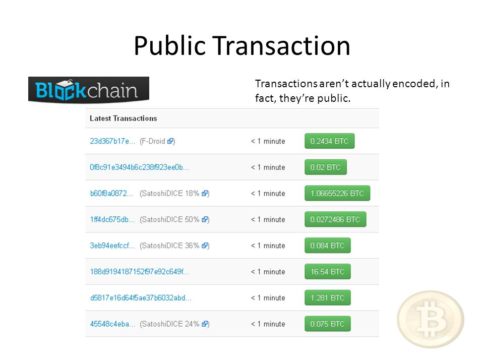 Public Transaction Transactions aren't actually encoded, in fact, they're public.