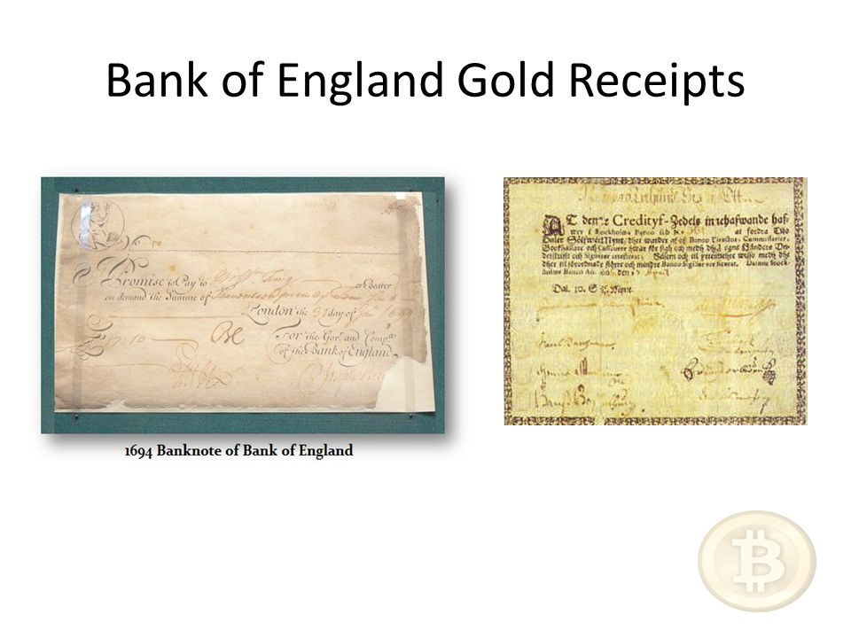 Bank of England Gold Receipts