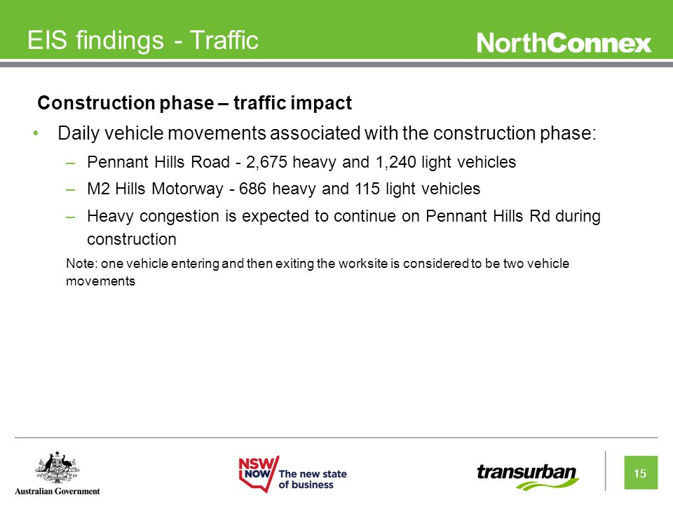 15 EIS findings - Traffic Construction phase – traffic impact Daily vehicle movements associated with the construction phase: –Pennant Hills Road - 2,675 heavy and 1,240 light vehicles –M2 Hills Motorway - 686 heavy and 115 light vehicles –Heavy congestion is expected to continue on Pennant Hills Rd during construction Note: one vehicle entering and then exiting the worksite is considered to be two vehicle movements 15